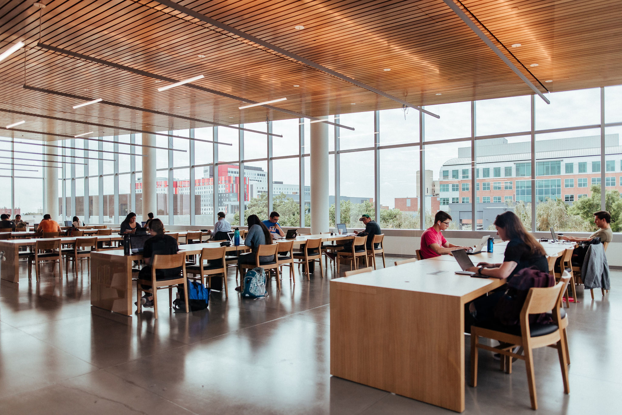 photo of students in Charles Library