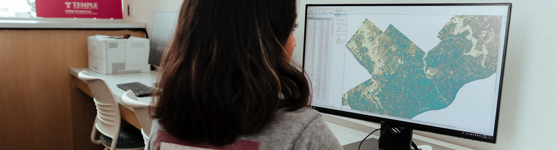 student working in GIS software