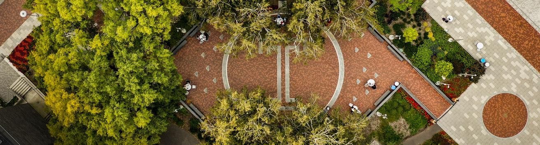 aerial photo of temple garden
