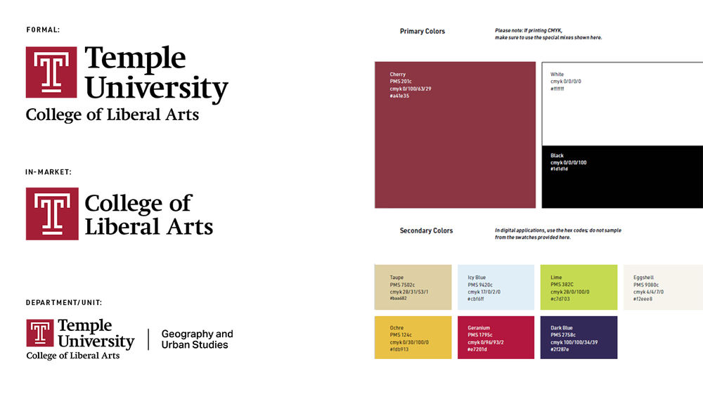 Examples of logo types and color palette